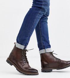 Темно-коричневые ботинки для широкой стопы на шнуровке Base London - Callahan-Коричневый