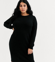 Платье-джемпер с круглым вырезом Brave Soul Plus-Черный
