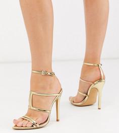 Золотистые босоножки на каблуке для широкой стопы London Rebel-Золотой