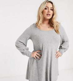 Серое ультрамягкое свободное платье мини ASOS DESIGN Curve-Серый