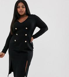 Платье из двойного премиум-трикотажа с золотистыми пуговицами Unique21 Hero-Черный
