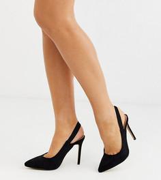 Черные остроносые туфли для широкой стопы на каблуке Co Wren-Черный