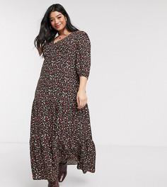 Черное свободное платье макси с цветочным принтом New Look Curve-Черный