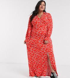 Красное платье-рубашка в ковбойском стиле с длинными рукавами и цветочным принтом ASOS DESIGN Curve-Красный