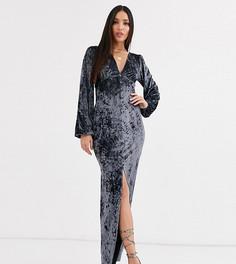 Бархатное платье макси стального цвета с длинными рукавами и пуговицами ASOS DESIGN Tall-Серый