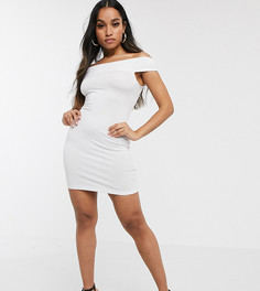Белое вечернее платье мини с широким вырезом ASOS DESIGN Petite-Белый