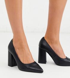 Черные туфли для широкой стопы на блочном каблуке с острым носом London Rebel-Черный