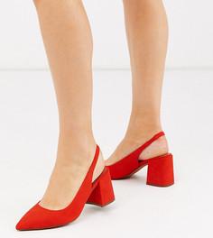Красные туфли на каблуке с ремешком на пятке ASOS DESIGN-Красный