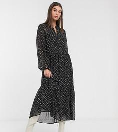 Платье макси в клетку с ярусной юбкой Vero Moda Tall-Мульти