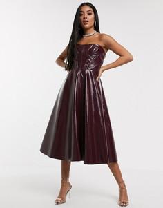 Виниловое платье-бандо миди для выпускного ASOS DESIGN Premium-Красный