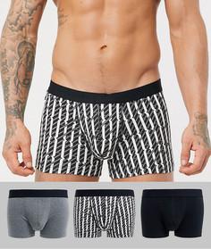 Набор из 3 боксеров-брифов черного, серого цвета и с монограммным принтом ASOS DESIGN - Набор со скидкой-Мульти