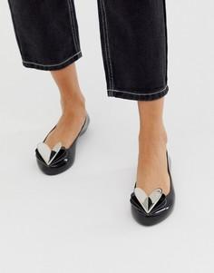 Черные туфли на плоской подошве с отделкой в виде сердца Zaxy-Черный