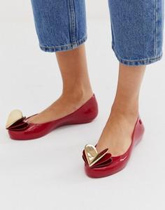 Красные туфли на плоской подошве с отделкой в виде сердца Zaxy-Красный