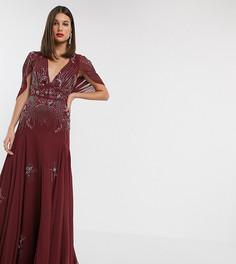 Платье макси с пайетками и цветочной отделкой бисером ASOS DESIGN Tall-Красный
