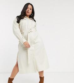 Платье-рубашка макси с поясом Skylar Rose Plus-Кремовый