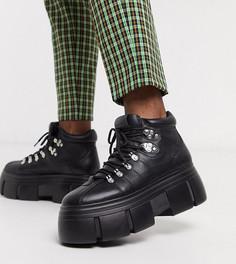 Черные ботинки для широкой стопы из искусственной кожи на шнуровке и массивной подошве ASOS DESIGN-Черный
