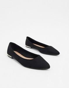 Черные туфли с острым носом из искусственной замши New Look-Черный