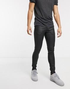 Черные обтягивающие джинсы с покрытием Topman-Черный