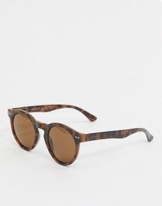 Солнцезащитные очки в круглой черепаховой оправе AJ Morgan-Коричневый