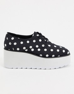 Туфли в горошек на плоской массивной подошве и шнуровке ASOS DESIGN-Мульти