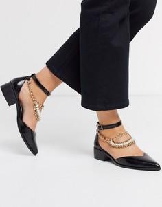 Черные туфли на плоской подошве с отделкой в виде ножного браслета ASOS DESIGN-Черный