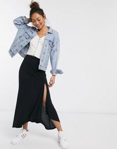 Расклешенная юбка макси в рубчик с разрезом ASOS DESIGN-Черный