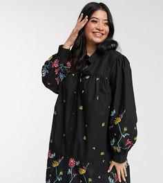 Черное платье-рубашка мини на пуговицах с вышивкой ASOS DESIGN Curve-Черный