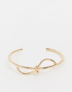 Золотистый браслет-манжета с декоративным узлом AllSaints-Золотой