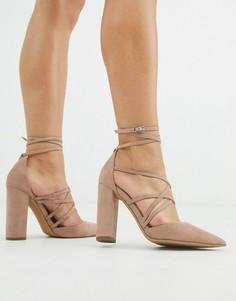 Серо-коричневые туфли на высоком каблуке ASOS DESIGN-Бежевый
