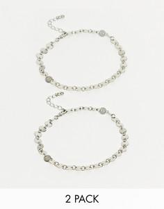 Набор из 2 серебристых браслетов-цепочек на ногу ASOS DESIGN-Серебряный