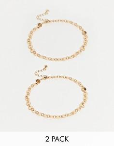 Набор из 2 золотистых браслетов-цепочек на ногу ASOS DESIGN-Золотой