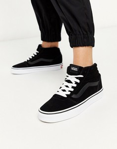 Черно-белые высокие замшевые кроссовки Vans-Черный