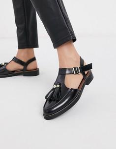 Черные кожаные туфли на плоской подошве с кисточками ASOS DESIGN-Черный