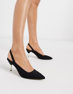 Черные туфли на каблуке с ремешком на пятке ASOS DESIGN Sascha-Черный