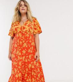 Платье миди на пуговицах с цветочным принтом Neon Rose Plus-Оранжевый