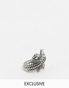 Серебристое кольцо в несколько оборотов с крокодилом Reclaimed Vintage Inspired-Серебряный
