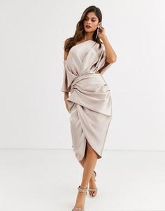 Асимметричное атласное платье миди ASOS EDITION-Розовый