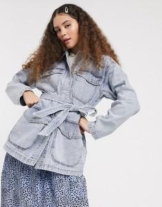 Синяя джинсовая куртка в стиле милитари с поясом Monki-Синий