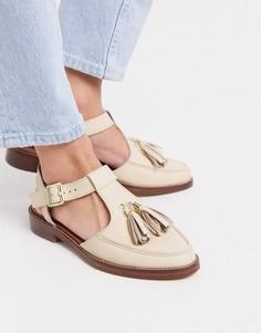 Кожаные туфли цвета слоновой кости на плоской подошве с кисточками ASOS DESIGN-Белый