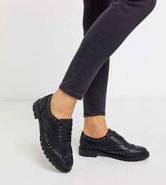 Черные броги для широкой стопы с отделкой заклепками New Look Wide Fit-Черный