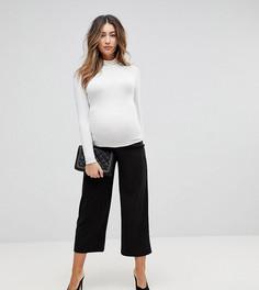Черные широкие укороченные брюки из трикотажного крепа ASOS DESIGN Maternity-Черный