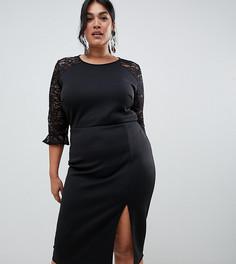 Черное облегающее платье с кружевной вставкой True Violet Plus-Черный