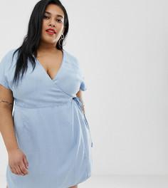 Голубое джинсовое платье с запахом ASOS DESIGN Curve-Синий