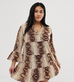 Платье А-силуэта с V-образным вырезом и змеиным принтом AX Paris Plus-Серый