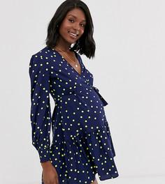 Зеленое платье мини в горошек с запахом Influence Maternity-Темно-синий