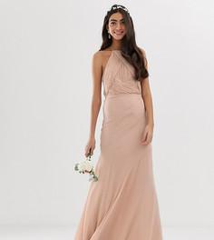 Платье макси для подружки невесты с лифом в стиле сарафана и юбкой годе ASOS DESIGN Tall-Серый