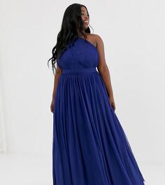 Платье макси на одно плечо ASOS DESIGN Curve-Темно-синий