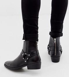 Черные кожаные ботинки в стиле вестерн для широкой стопы ASOS DESIGN-Черный