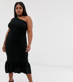 Платье миди на одно плечо с расклешенным краем ASOS DESIGN Curve-Черный