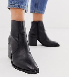 Черные кожаные ботинки для широкой стопы на блочном каблуке с заклепками ASOS DESIGN Restore-Черный